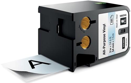 Dymo XTL tape ft 54 mm, zwart op transparant, vinyl