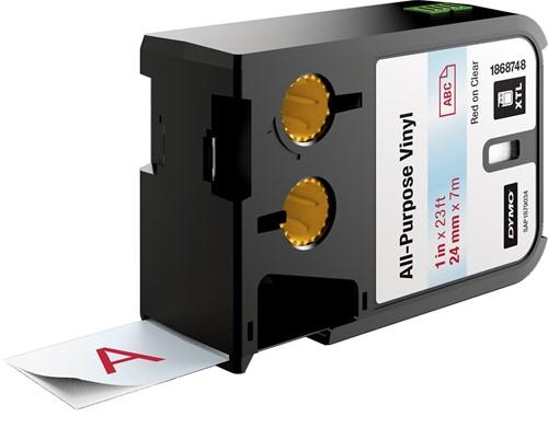 Dymo XTL vinyltape ft 24 mm, rood op transparant