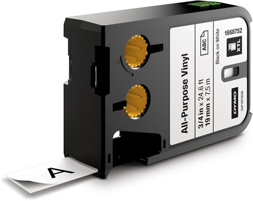 Dymo XTL tape ft 19 mm, zwart op wit, vinyl