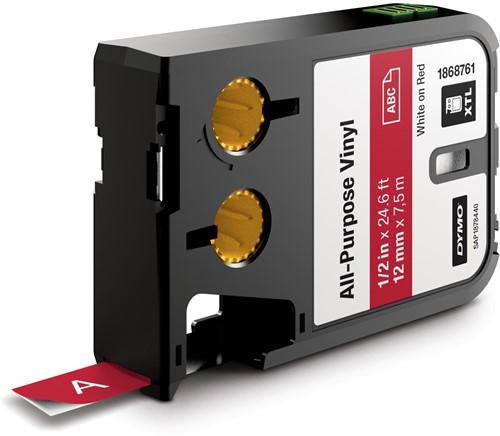 Dymo XTL tape ft 12 mm, zwart op rood, vinyl
