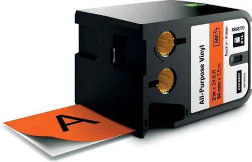Dymo XTL tape 54 mm, zwart op oranje, vinyl