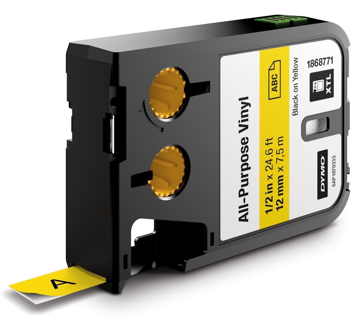 Dymo XTL tape ft 12 mm, zwart op geel, vinyl