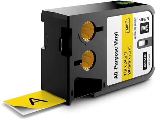 Dymo XTL tape ft 24 mm, zwart op geel, vinyl