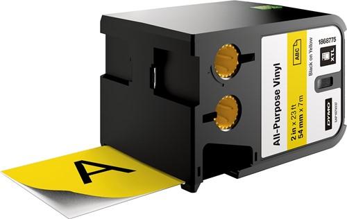 Dymo XTL tape 54 mm, zwart op geel, vinyl