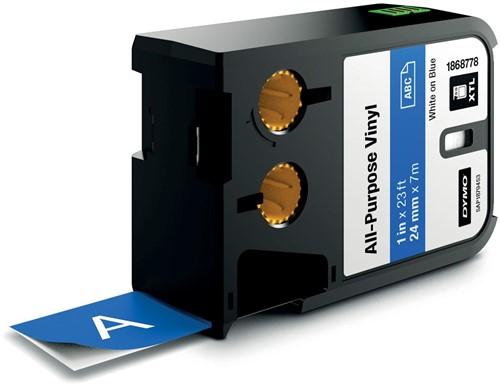 Dymo XTL tape 24 mm, wit op blauw, vinyl