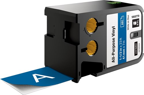 Dymo XTL vinyltape ft 41 mm, wit op blauw