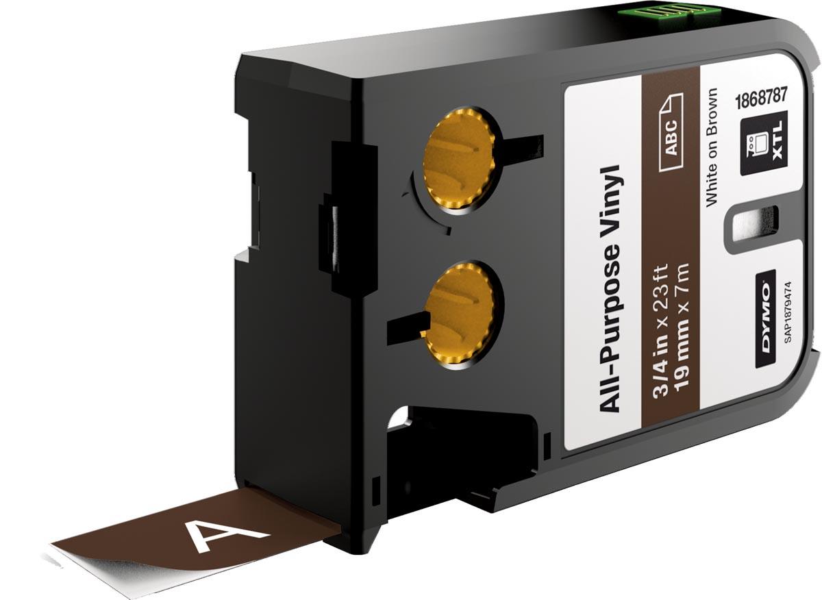 Dymo XTL vinyltape ft 19 mm, wit op bruin