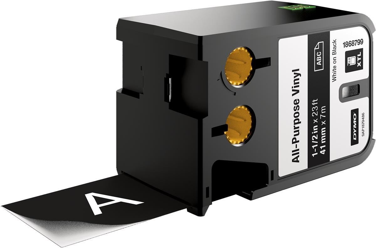 Dymo XTL vinyltape ft 41 mm, wit op zwart