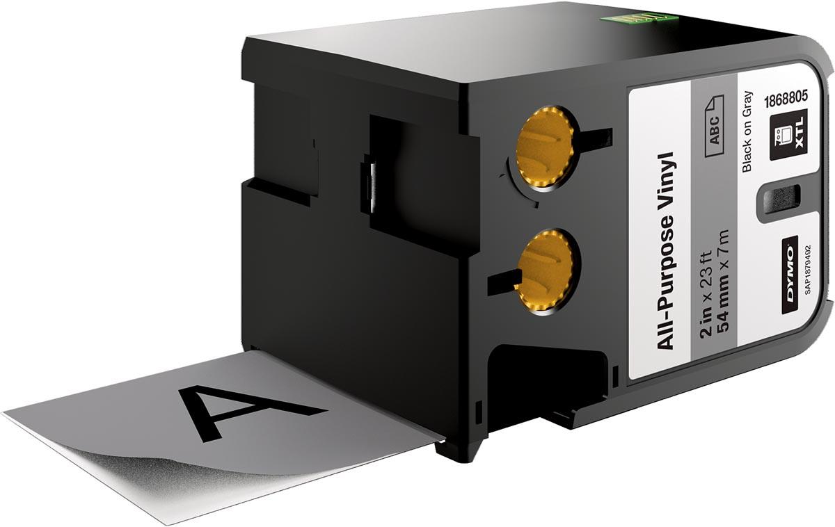 Dymo XTL vinyltape ft 54 mm, zwart op grijs