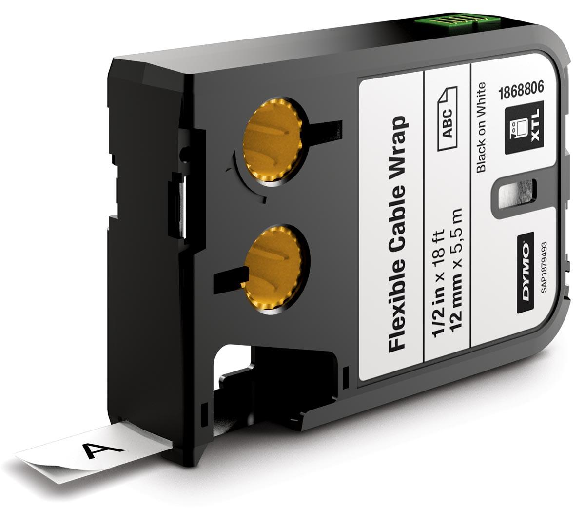 Dymo XTL tape ft 12 mm, zwart op wit, nylon