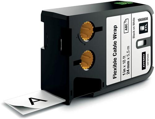 Dymo XTL tape 24 mm, zwart op wit, nylon