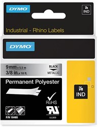 Dymo RHINO permanent polyester tape 9 mm, zwart op metaal