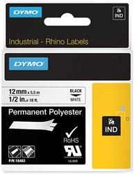 Dymo RHINO permanente polyester tape 12 mm, zwart op wit