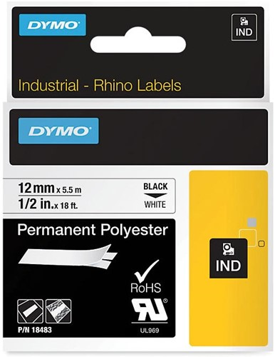 Dymo RHINO permanente polyester tape 12 mm, zwart op wit