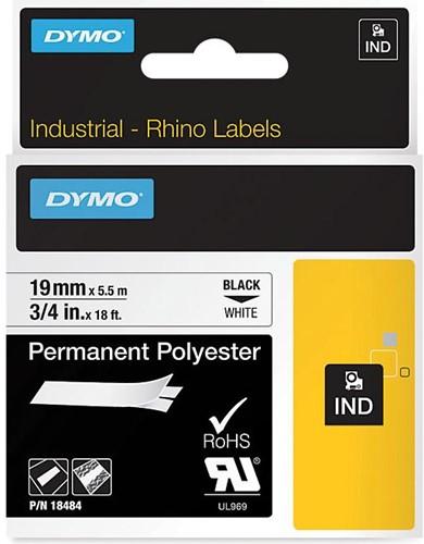 Dymo RHINO ruban polyester permanente 19 mm, noir sur blanc