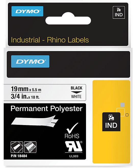 Dymo RHINO permanente polyester tape 19 mm, zwart op wit