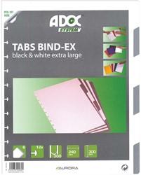Adoc Toebehoren voor schrift Colorlines 6 tabbladen, zwart en wit