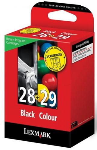Lexmark inktcartridge 28 en 29, 4 kleuren multipack, 175 pagina's - OEM: 18C1520E