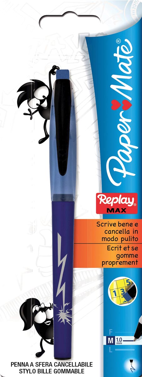 Papermate balpen replay.max blauw (op blister)