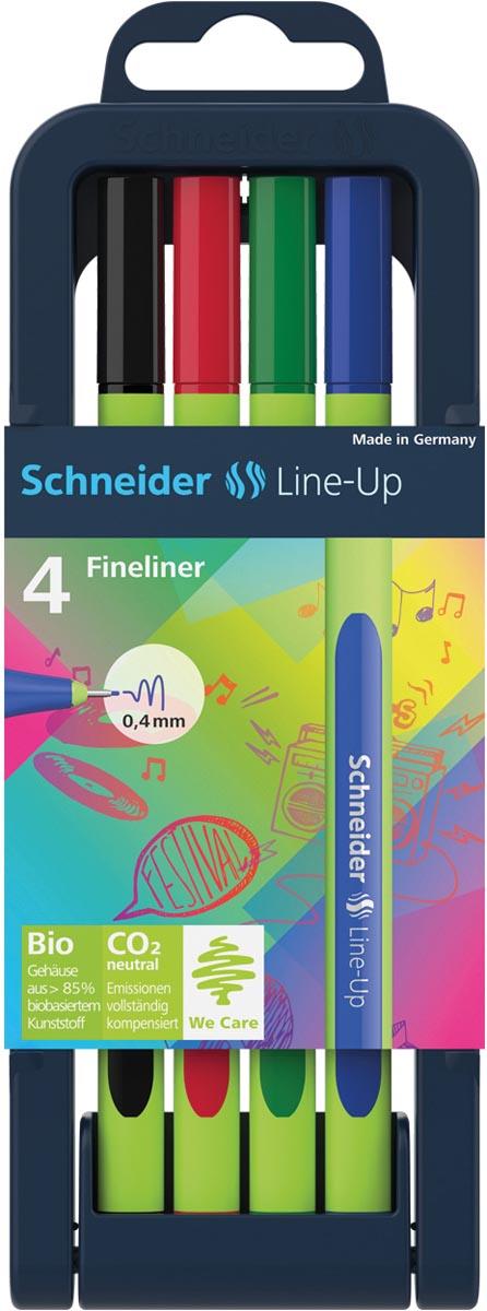 Schneider fineliner Line-Up, etui van 4 stuks in geassorteerde kleuren