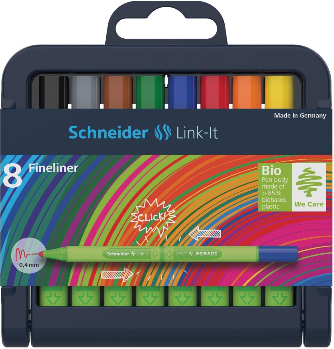Schneider fineliner Link-it,opstelbaar etui van 8 stuks in geassorteerde kleuren