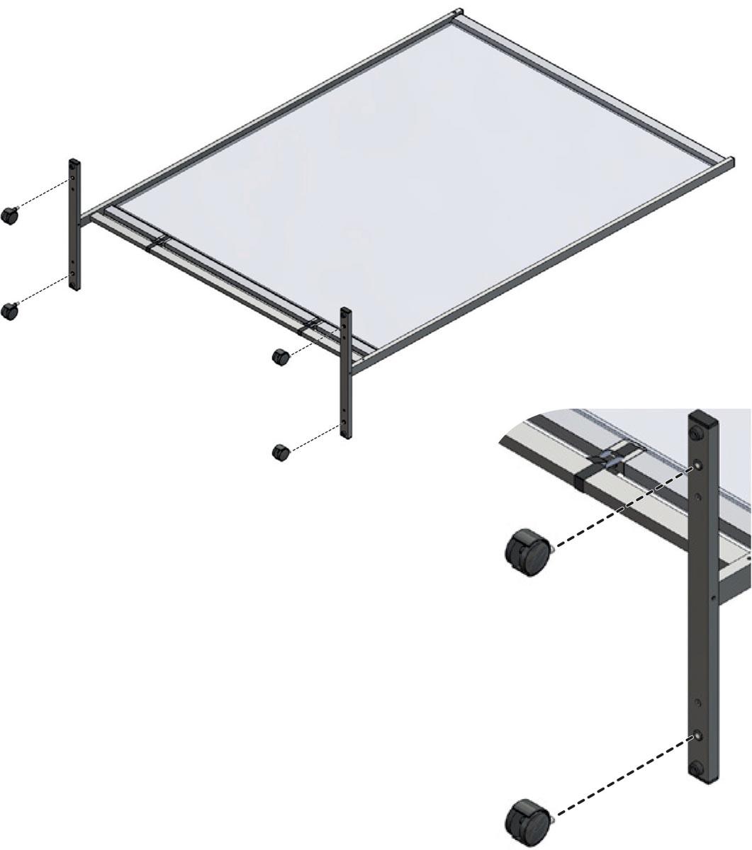 Nobo zwenkwielen voor Premium Plus scheidingspaneel van doorzichtig PVC, 4 stuks