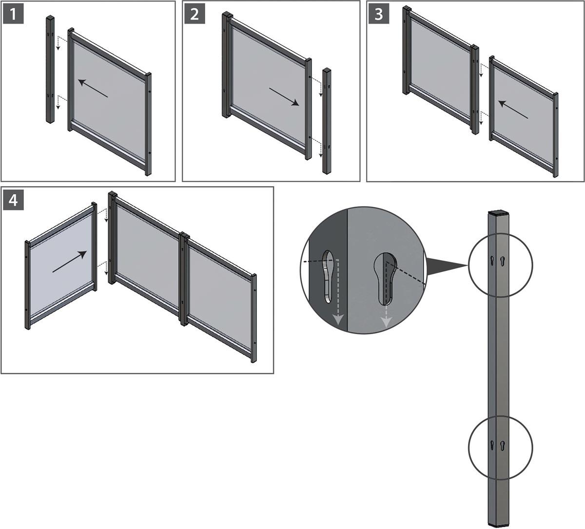 Nobo Premium Plus frame verbindingsstuk voor modulaire scheidingspanelen