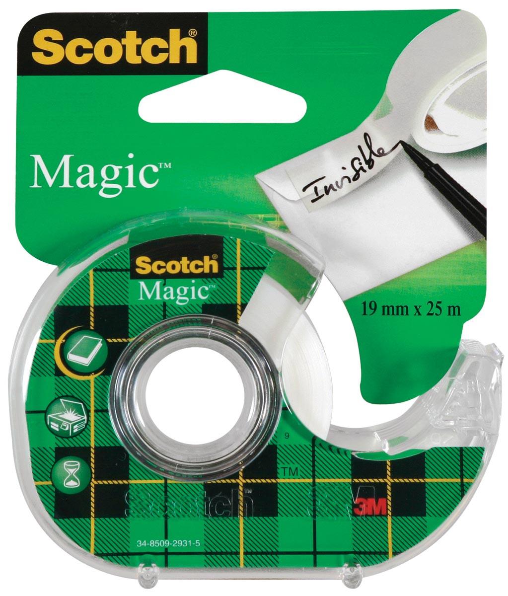 Scotch plakband Magic Tape ft 19 mm x 25 m, blister met dispenser en 1 rolletje