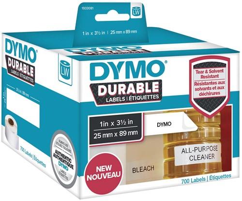 Dymo duurzame etiketten LabelWriter ft 25 x 89 mm, 700 etiketten
