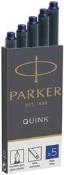 Parker Quink inktpatronen permanent blauw, doos met 5 stuks