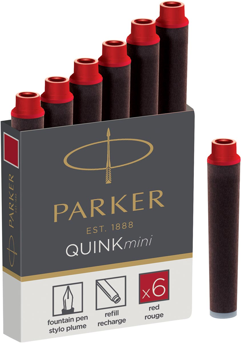 Parker Quink mini inktpatronen rood, doosje met 6 stuks