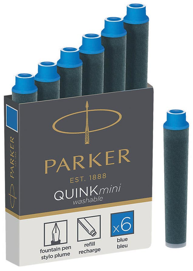 Parker Quink Mini inktpatronen blauw, doos met 6 stuks