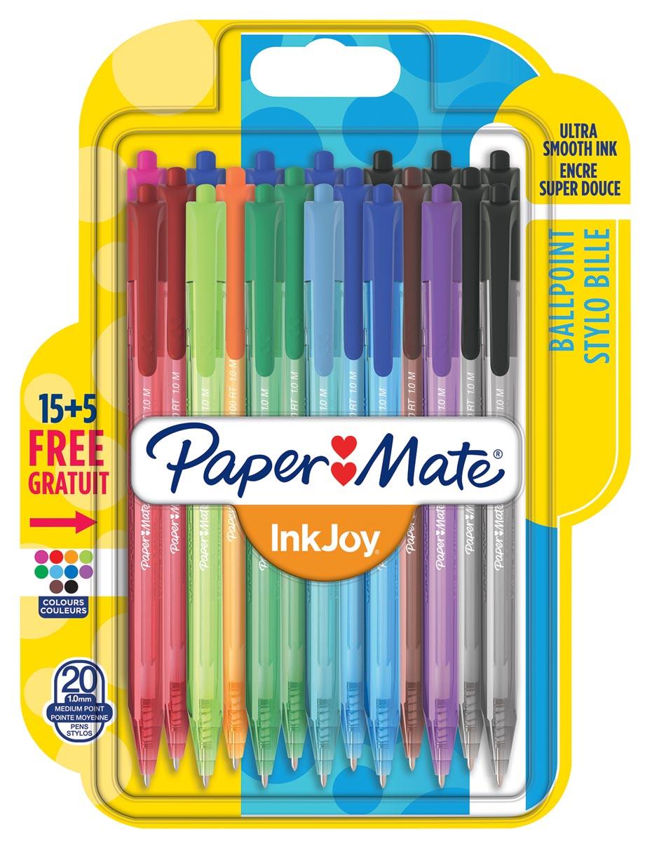 Paper Mate balpen InkJoy 100 RT, blister 15 + 5 gratis