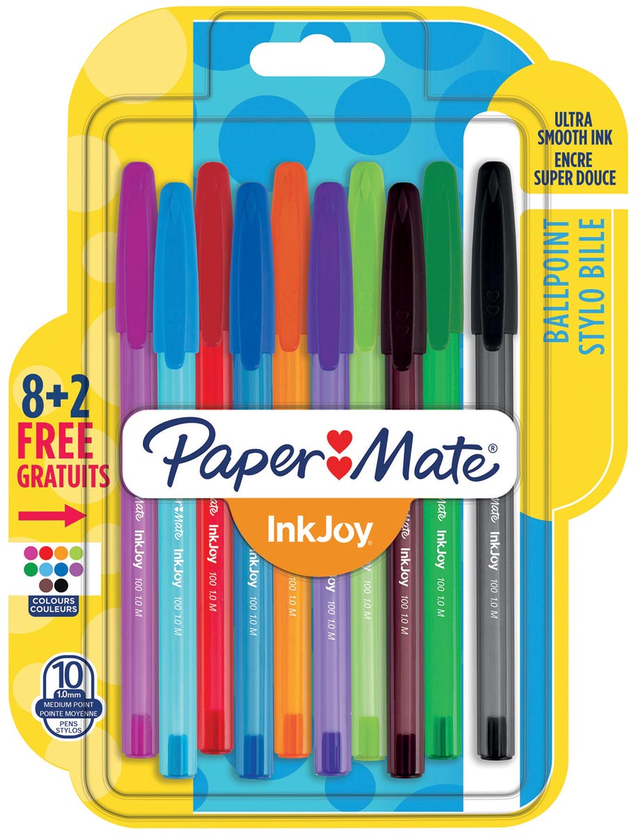 Paper Mate balpen InkJoy 100 met dop, blister 8 + 2 gratis
