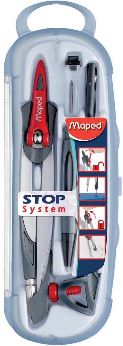 Maped passer Stop System 5-delige passerdoos: 1 passer Stop System, 1 universeel inzetstuk, 1 minesl