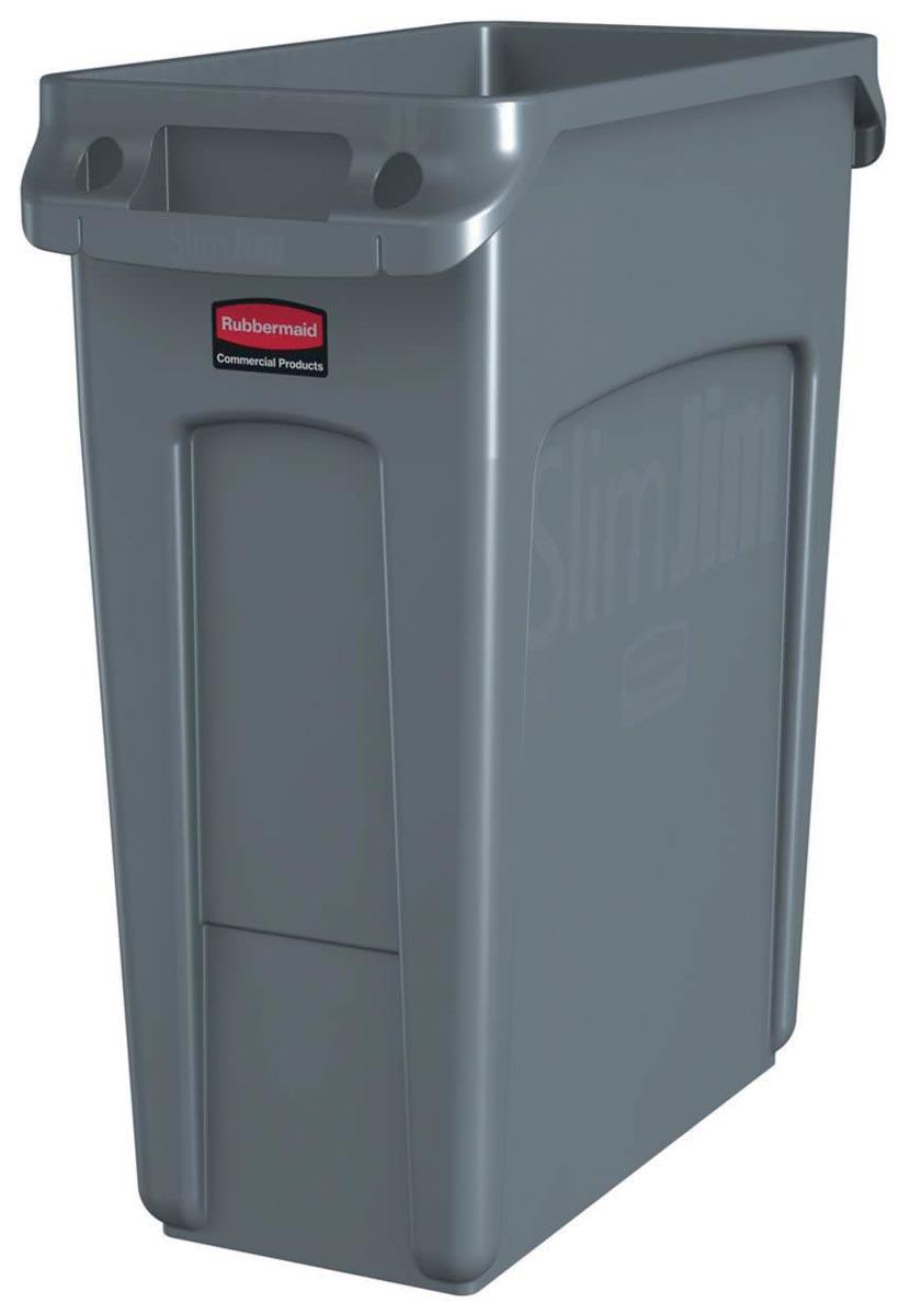 Rubbermaid afvalcontainer Slim Jim, 60 liter, grijs