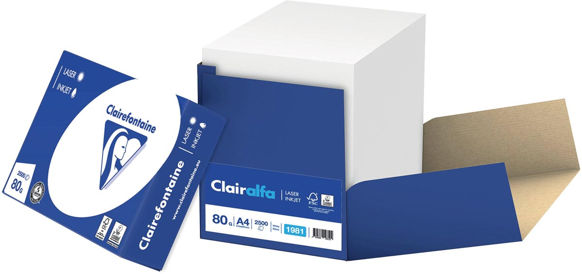 Clairefontaine Clairalfa printpapier ft A4, 80 g, doos van 2500 vel