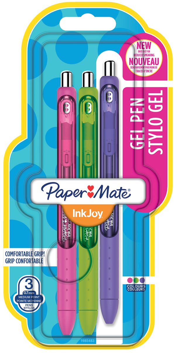 Paper Mate roller InkJoy Gel, blister met 3 stuks in geassorteerde fun kleuren