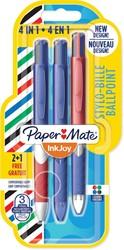Paper Mate 4-kleuren balpen Inkjoy French Connection, blister 2 + 1 gratis