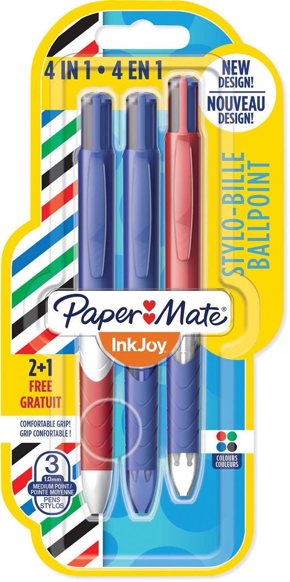 Paper Mate 4-kleuren balpen Inkjoy French Connection, blister 2 + 1 gratis