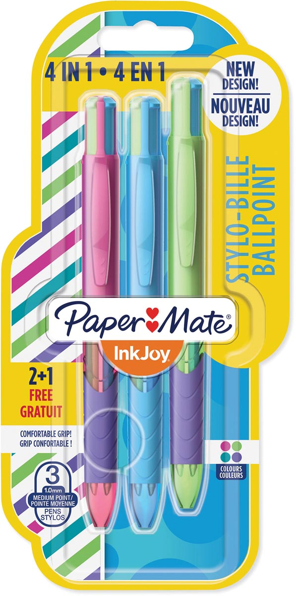 Paper Mate 4-kleuren balpen Inkjoy Quatro Joie De Vivre, blister 2 + 1 gratis