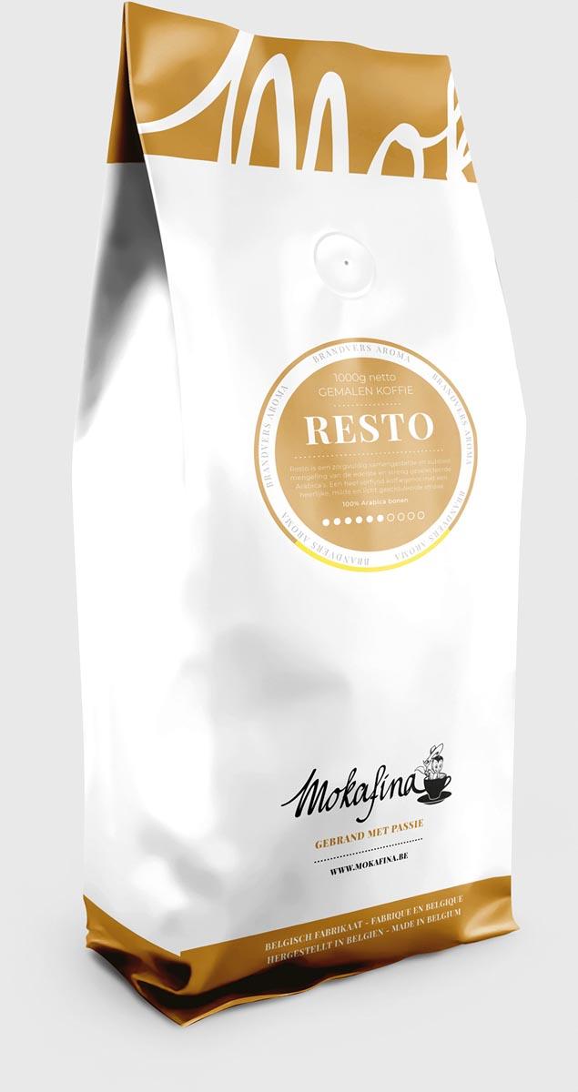 Mokafina Resto koffie gemalen koffie, pak van 1 kg, sterkte van 6