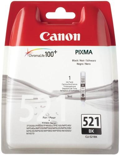 Canon inktcartridge CLI-521BK zwart, 1250 pagina's - OEM: 2933B008, met beveiligingsysteem