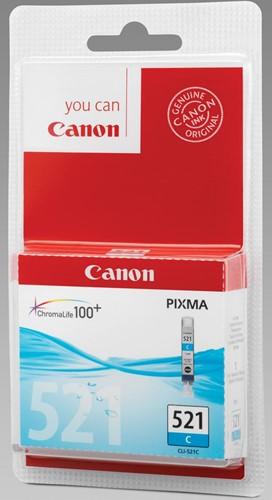 Canon inktcartridge CLI-521C cyaan, 448 pagina's - OEM: 2934B009, met beveiligingsysteem