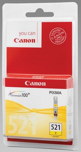 Canon inktcartridge CLI-521Y geel, 445 pagina's - OEM: OEM: 2936B008, met beveiligingsysteem