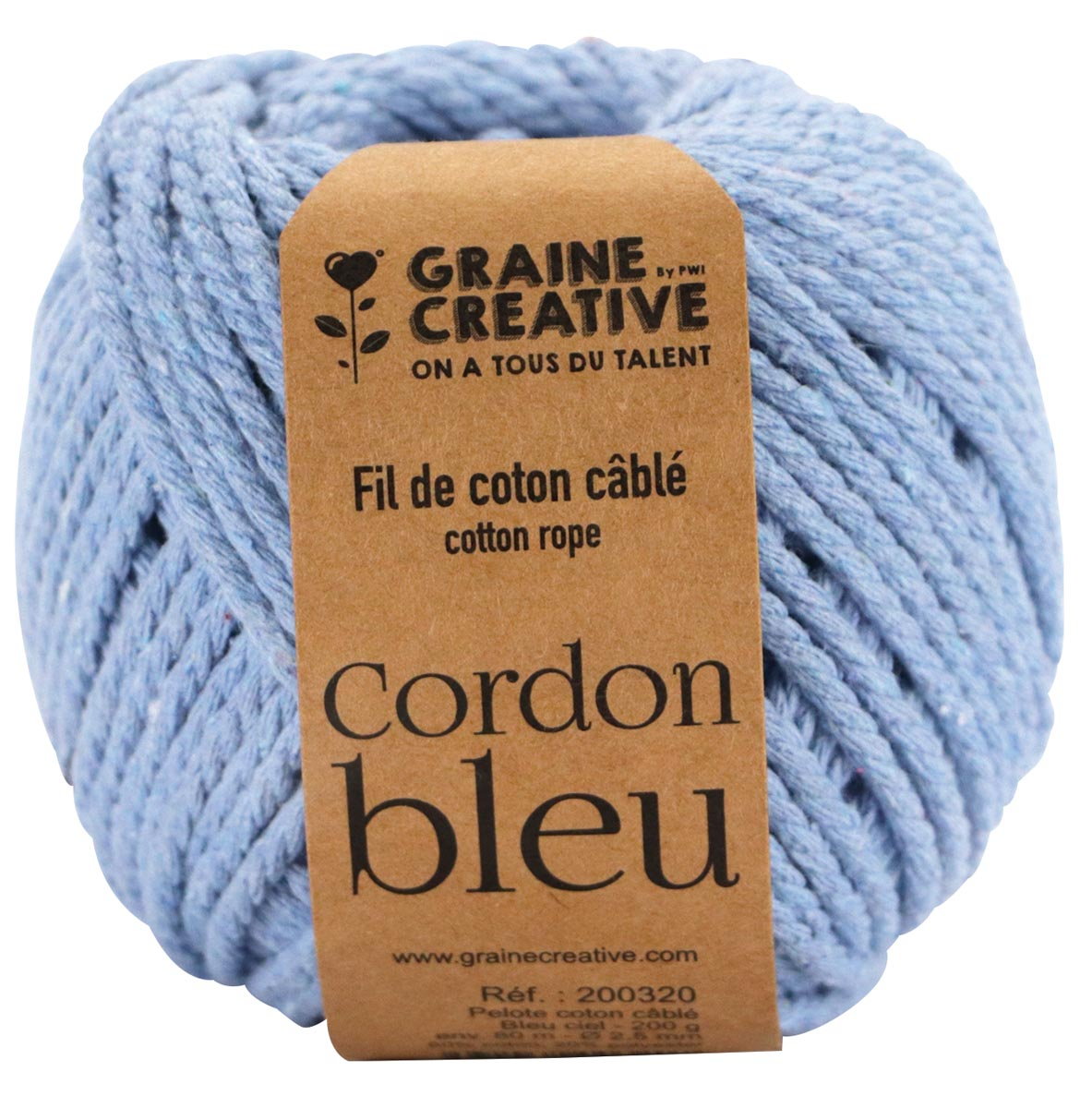 Graine Créative Macramé touw, ft 2,5 mm x 80 m, hemelsblauw