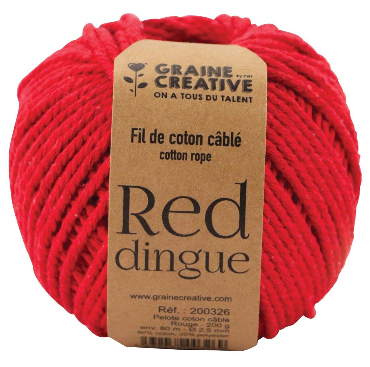 Graine Créative Macramé touw, ft 2,5 mm x 80 m, rood