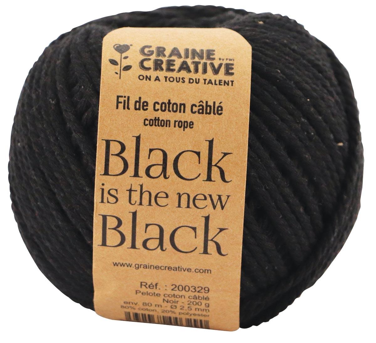 Graine Créative Macramé touw, ft 2,5 mm x 80 m, zwart