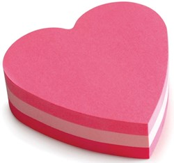 Post-it Notes mini hart, 3 kleuren, blok van 225 vel, op blister