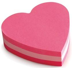 Post-it Notes mini hart, 3 kleuren, blok van 225 vel, op blister